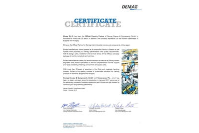 Elmas - the official country partner of Demag Cranes&Components